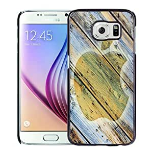 Beautiful Unique Designed Cover Case For Samsung Galaxy S6 With Apple Wood Black Phone Case