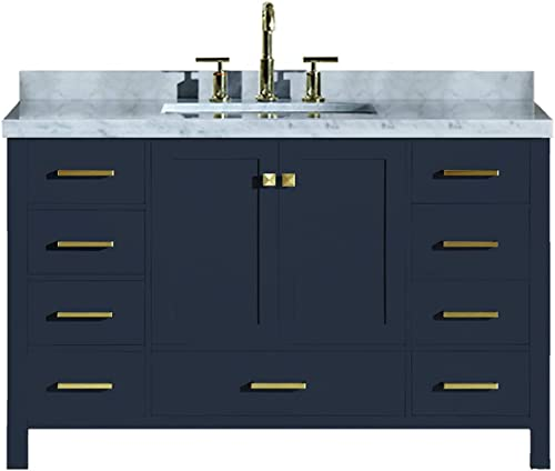 ARIEL Cambridge A055SCWRVOMNB 55″ Inch Single Rectangular Sink Solid Wood Midnight Blue Bathroom Vanity Cabinet
