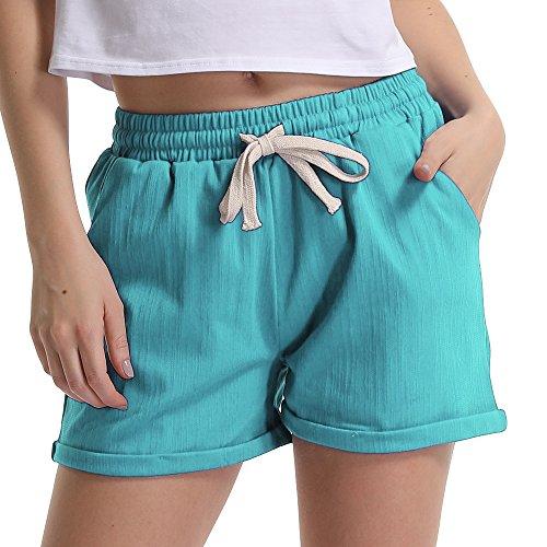 (Women's Drawstring Elastic Waist Casual Comfy Cotton Linen Beach Shorts Turquoise Tag XL-US 10)