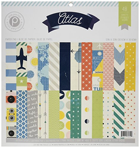 "American Crafts 48 Sheet Pink Paislee Atlas Paper Pad, 12"" by 12"""