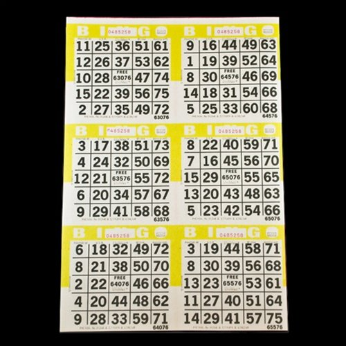 6 on Yellow Bingo Paper Game Cards - 500 sheets - 8 Inch by 12 Inch Size Disposable Sheet - Made in USA - Bingo Cards 6 Games