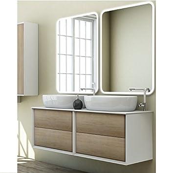 Mobile arredo Bagno Moderno Bellagio Doppio lavabo d\'appoggio 140x46 ...