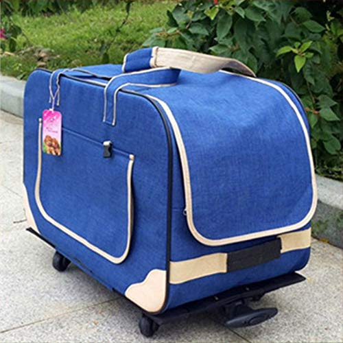 FANQIECHAODAN Soft Sided Pet Carrier,Pet Trolley Case with Detachable Wheels,Dogs and Cats (color   bluee)