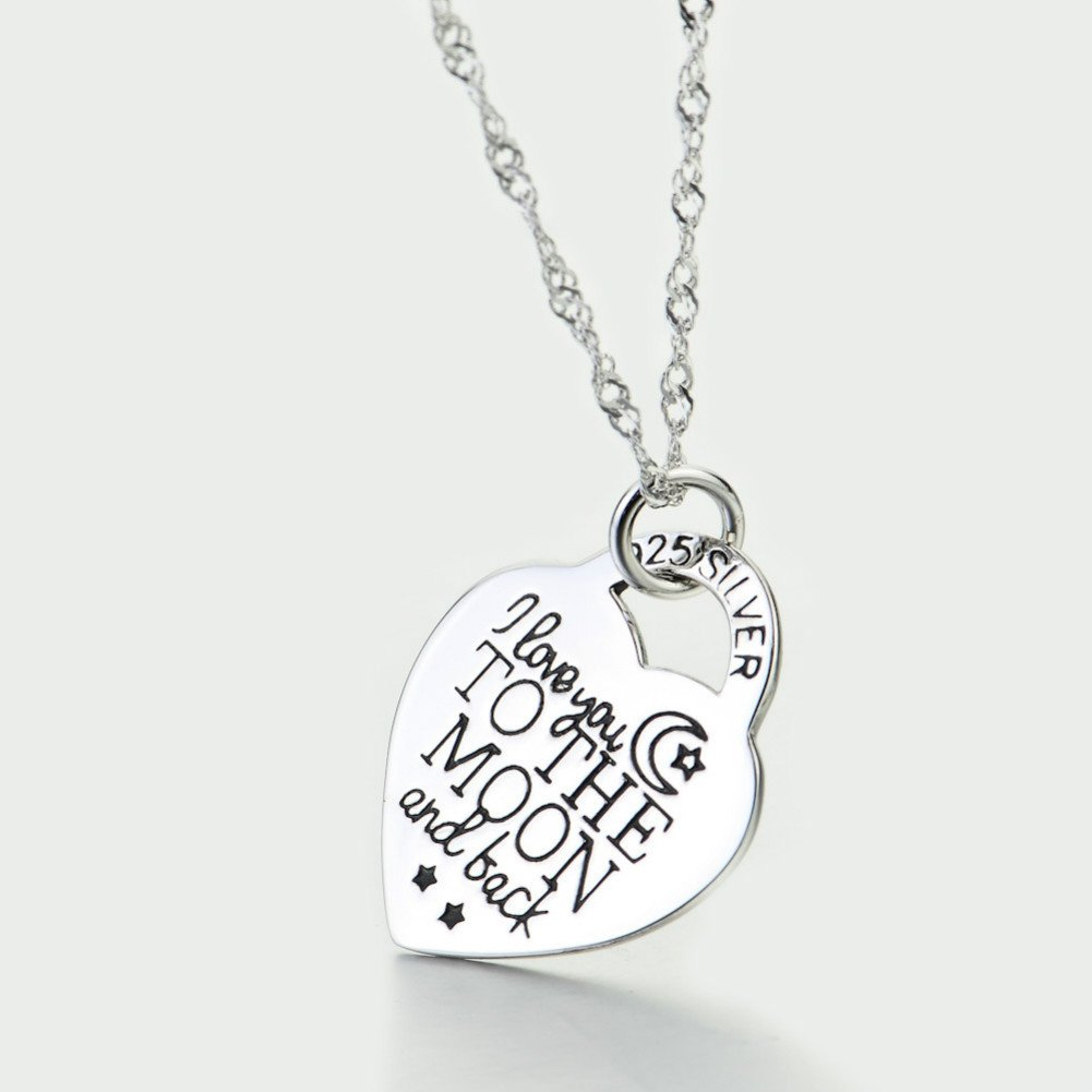 I Love You to the Moon and Back 925 Sterling Silver Pendant Necklace 18