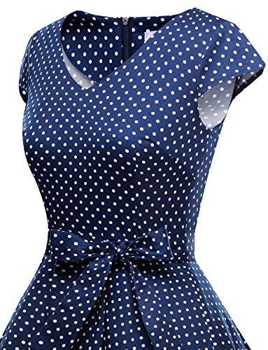 Maniche Annata Corte Abito Polka Retrò Small Cocktail Navy Da 1950 White Rockabilly Partito Swing Con Audery Dot Vestito Gardenwed qxOz6dfq