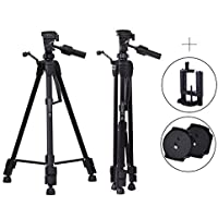 Camera Tripod, 62inch Lightweight Travel Tripod for DSLR and Mirrorless Cameras, Cell Phone Tripod with Phone Clip Mount ,Extra One Piece of Quick Release Plate and Carry Case Included