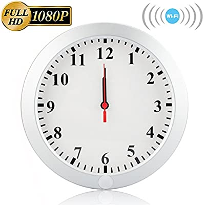 WiFi Wall Clock Nanny Cam, CAMXSW 1080P WiFi Wall Clock Hidden Spy Camera Wireless Ip Pinhole Nanny Camera Security & Surveillance Cameras Video Recorder With Motion Detection by CAMXSW