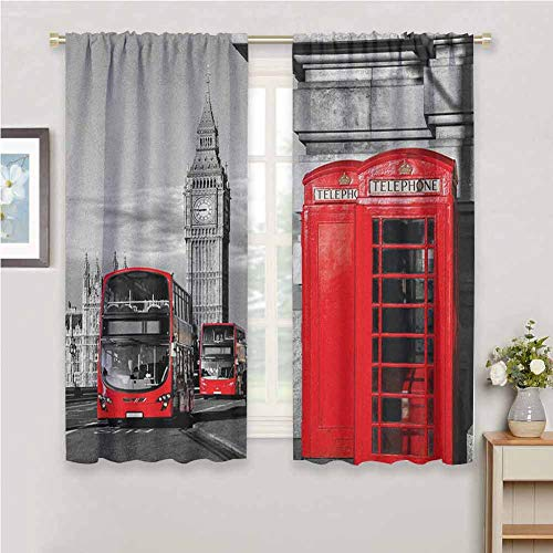 Jinguizi London soundproof Curtain London Telephone Booth in The Street Traditional Local Cultural Icon England UK Retro Window Curtain 2 Panel Red Grey 96 x 72 inch