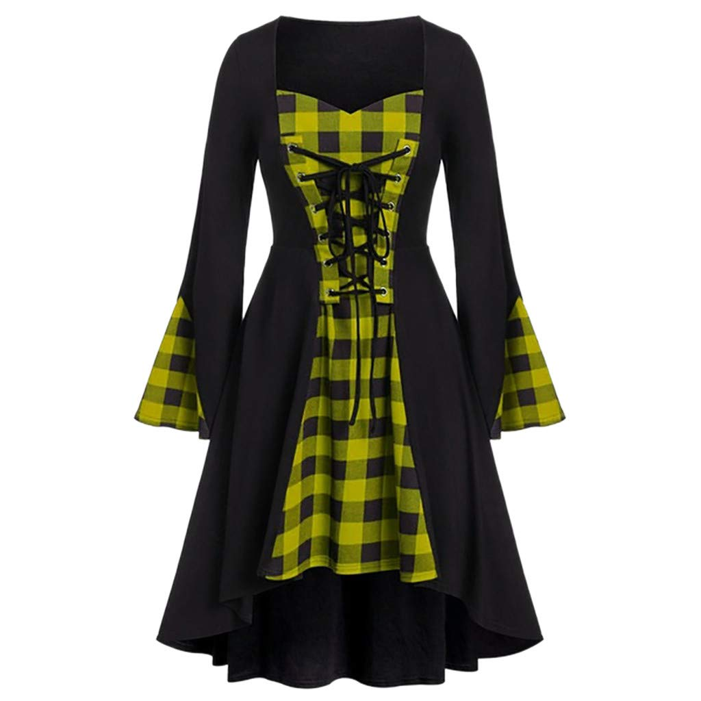 Halloween Dresses for Women Long Sleeve Lace Up Plaid Splice Cocktail Swing Dress (M, Yellow) by Suoxo Women Dresses