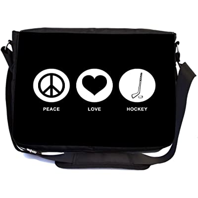 Rikki Knight Peace Love Hockey Black Color Design Multifunctional Messenger Bag - School Bag - Laptop Bag - with padded insert for School or Work - Includes Matching Compact Mirror