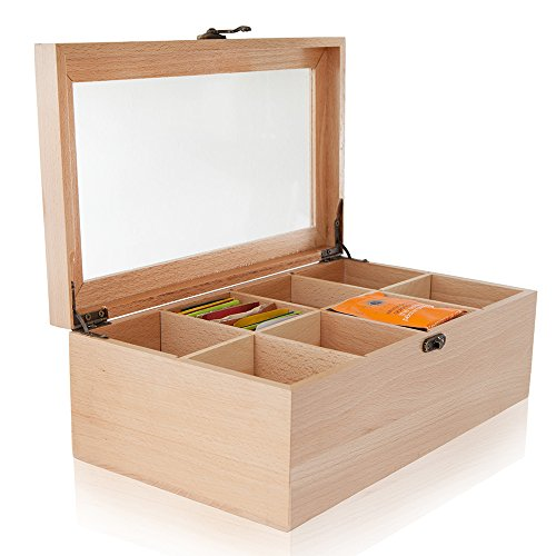 ALG Collections 8-Compartment Adjustable Storage Chest with Clear Glass Lid Wood Tea Box, 12 x 7 x 4 Inch - Natural Wood