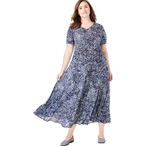 Woman Within Women's Plus Size Petite Crinkle Dress - Navy Ikat, L Crinkle Short Sleeve Shorts