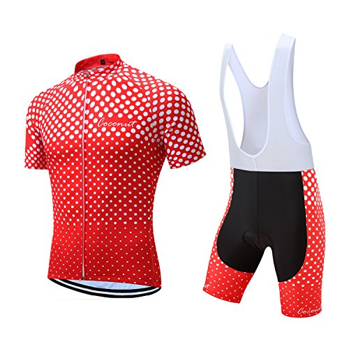 Coconut Pro Team Men's Cycling Jersey Bib Shorts With 3D Padded (Large, Red/White dot) ()