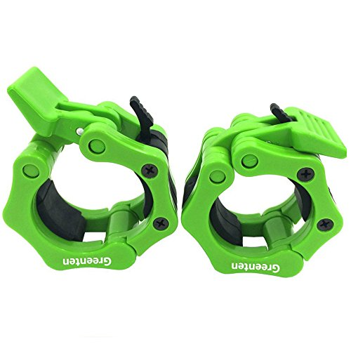 "Greententljs 2 Inch Barbell Clamps Quick Release Pair Locking 2"" Pro Olympic Bar Clip Lock Barbells Collars 45lbs Weights Plates Clips Workout for Squat Weightlifting Fitness Training (Neon-Green)"