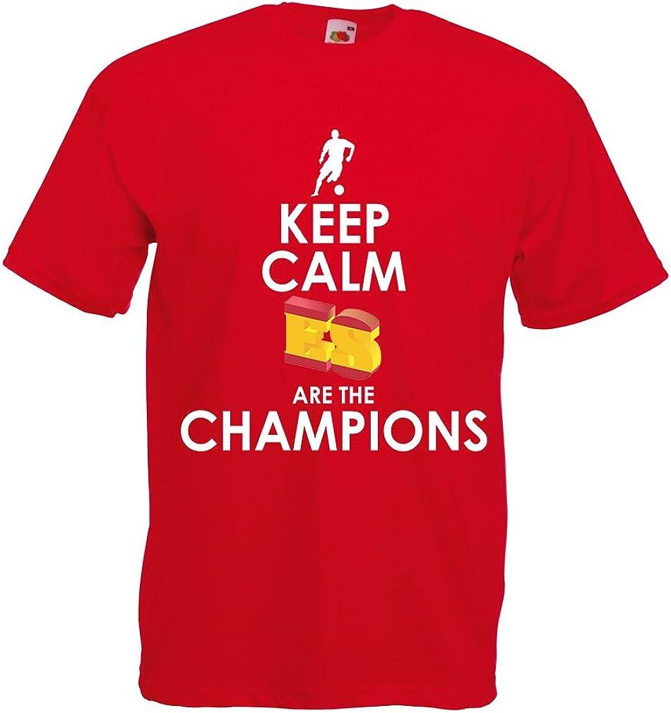 lepni.me Camisetas Hombre Españoles Son los campeones, Campeonato de Rusia 2018, Copa del Mundo - Equipo del fútbol de Camisa del admirador de España