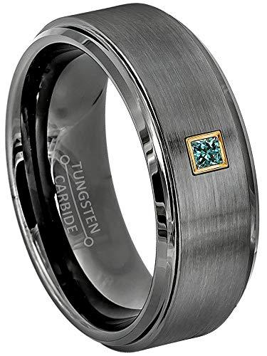 0.05ctw Solitaire Princess Cut Blue Diamond Tungsten Ring - 8MM Comfort Fit Gunmetal (dark gray) Tungsten Carbide Wedding Band - April Birthstone Ring - 14Kt Yellow Gold Bezel - s8.5 (Comfort Fit Princess Cut Diamond)
