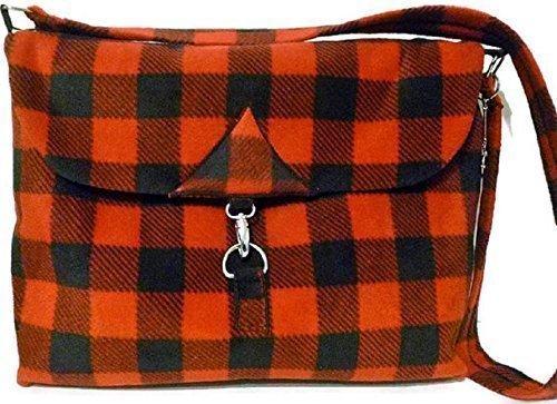 Buffalo Check Bag Cross Body Messenger Red Plaid Fleece Handmade