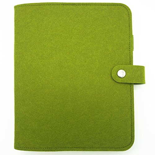 Harphia Wool Felt Vintage Loose Leaf Refillable Spiral Notebook Dairy Planner Filofax A5 A6 Travel Journal Notepads Simple Light (A5, Green)