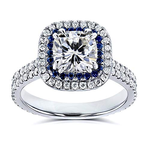 2 Carat TW Moissanite (HI) (GHI) and Sapphire Cushion Halo Engagement Ring in 14k White Gold - Size 4
