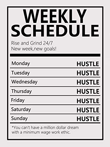 Weekly Schedule Motivational Canvas Wall Art -Inspirational Office Wall Art Poster Quotes Canvas Prints Framed Ready to Hang for Home Farm Office Decor -12