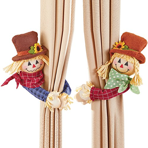 Fall Foliage Decor Wrap - Collections Etc Fall Décor Scarecrow Curtain Tie Back Set, 2 Pc