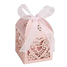 Candy Boxes - SODIAL(R)50pcs Love Heart Laser Cut Gift Candy Boxes Wedding Party Favor With Ribbon Pink