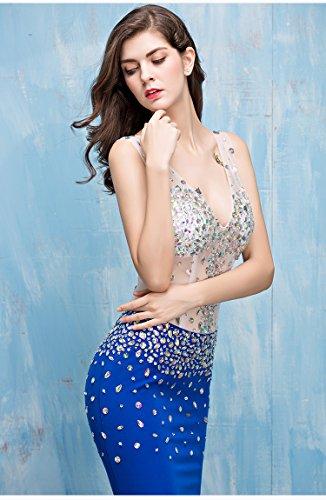 Meerjungfrau Doppelt Kleider Abendkleid Königsblau Fischschwanz Cocktail Erosebridal V Ausschnitt 4gwwIB
