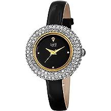 Burgi Women's BUR195 Swarovski Crystal & Diamond Accented Watch - Comfortable Leather Strap in A Gift Box (Yellow Gold & Black)
