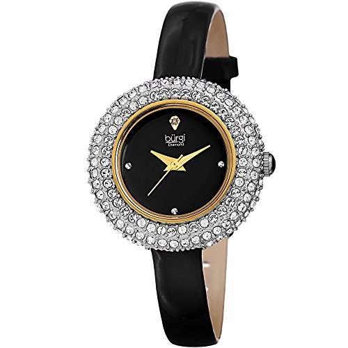 - Burgi Women's BUR195 Swarovski Crystal & Diamond Accented Watch - Comfortable Leather Strap in A Gift Box (Yellow Gold & Black)
