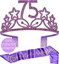 75th Birthday Gifts for Woman, 75th Birthday Tiara and Sash Purple, HAPPY 75th Birthday Party Supplies, 75 & Fabulous Glitter Satin Sash and Crystal Tiara Birthday Crown for 75th Birthday Party Supply