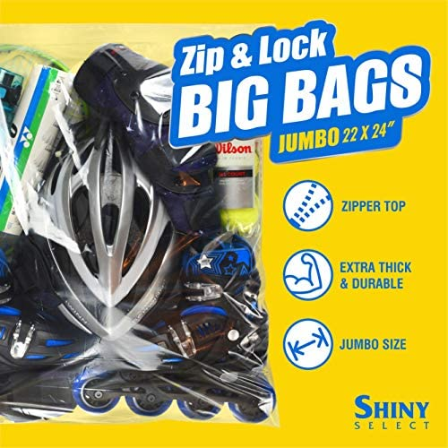 """Jumbo BIG Zip and Lock 22"""" x 24"""" - 8- Gallon Huge Resealable Bag with Zipper Top Lock Storage Bags - [10 Bags] XXLarge for Seasonal Clothing, Blanket, Linens, Pillows, Food - by Shiny Select"""
