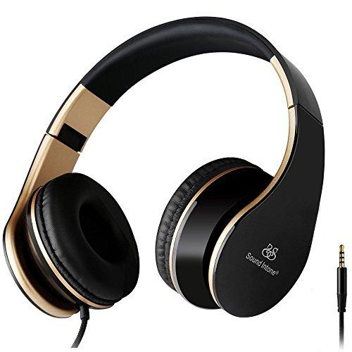 Sound Intone I65 Casque Stro - Nouvelle Gnration Design Ergonomique Pliable avec Commande de volume - Compatible avec PC Tlphones Portables Intelligents (iPhoneSamsung) PSP Ipod et Mp3 (NoirOR)