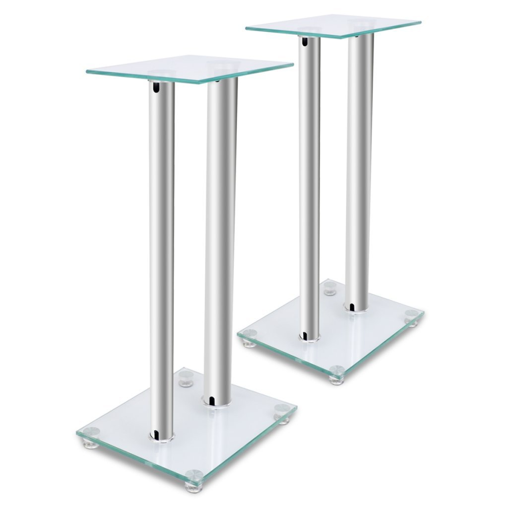 Anself Glass Speaker Stand (Each with 2 Silver Pillars) Set of 2