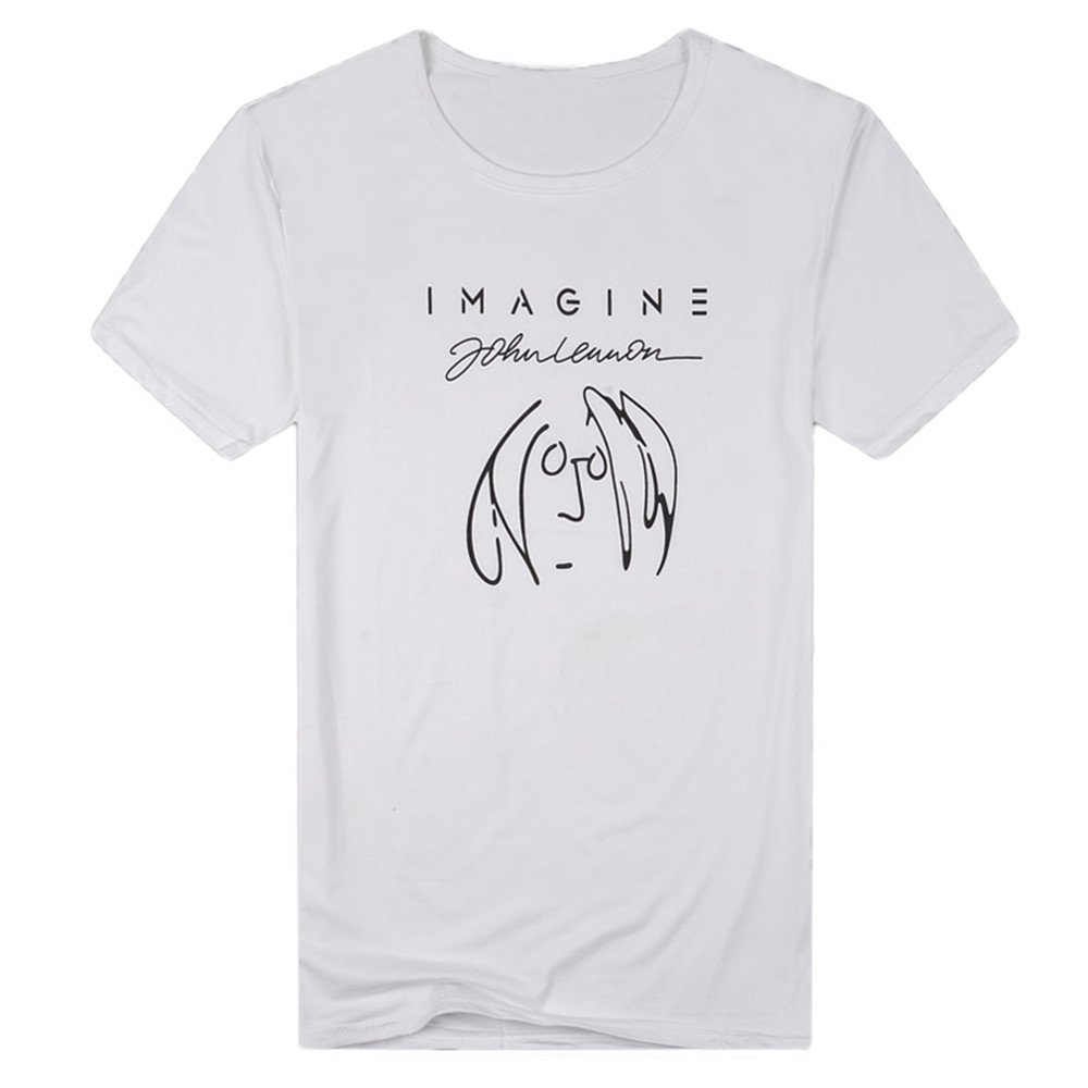Mens T-Shirt Casual Funny Imagine Printed Short Sleeve Pullover Top Blouse Tee