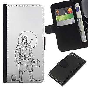 Be-Star la tarjeta de Crédito Slots PU Funda de cuero Monedero caso cubierta de piel Para Apple Iphone 5C ( Woodsman Warrior Moon Sketch )