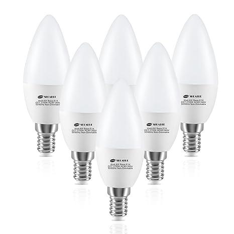 Seealle C37 E14 - Bombillas LED E14 de luz blanca cálida, 2700 K, 6 W, C37 (SES), ...