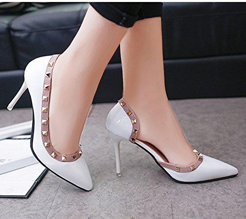 Minetom Cerrado Sandalias Asakuchi Remache Mujer Estiletes De Moda Punta Estrecha Zapatos De Tacón Altos Pumps Stiletto Elegante Boda Fiesta Clásicas Blanco