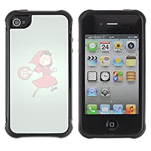 ZAAAZ Rugged Armor Slim Protection Case Cover Durable Shell - Funny Red Hood Girl - Apple Iphone 4 / 4S
