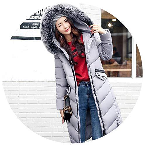 (NanGate Hair Collar Cotton Long Slim Down Cotton Thickened Warm Hooded Female Outwear Jacket Winter Coat Women)