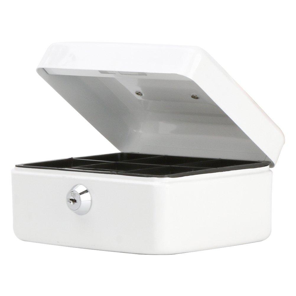 小さなキャッシュボックスwithキーロック、DecallerポータブルメタルMoney Box with Double Layer & 2キーforセキュリティ、6 1 / 5