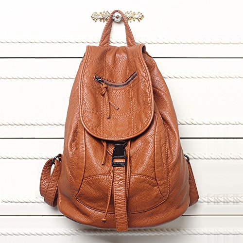 New Designer 2017 Washed Leather Bag High-grade Leather Women Backpacks Bolsos Mujer School Backpack for Girls Travel Bag Rucksack (Brown - Chris Fashion Brown Trends