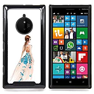 Eason Shop / Premium SLIM PC / Aliminium Casa Carcasa Funda Case Bandera Cover - Viste Arte blanco de la manera de la acuarela - For Nokia Lumia 830