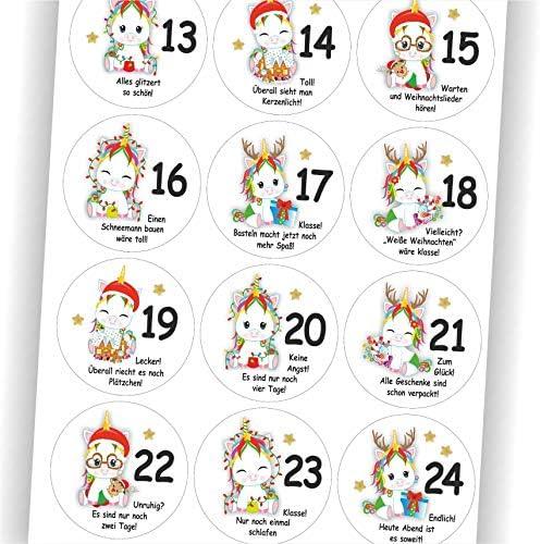 Play-Too 24 Aufkleber Einhorn mit Sprüchen Spruch für jeden Tag Adventskalender Zahlen Aufkleber Sticker Etikett Fest Weihnachten