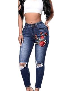Amazon.com: Pantalones vaqueros Hattfart para mujer con ...