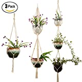 3 Packs Macrame Cotton Hemp Net Rope Plant Hanger, Manual Woven Hanging Rope Basket, Succulents Flowers Pot Bracket for Indoor Outdoor Garden Home Wall