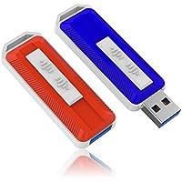 KOOTION 2PCS 64GB USB3.0 Flash Drives Thumb Drives Memory Stick Side Sliding Retractable USB Drives (Colors: Red, Blue)