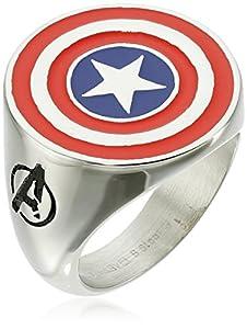 Marvel Comics Men's Stainless Steel Enamel Captain America Ring