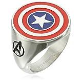 Marvel Comics Men's Stainless Steel Enamel Captain America Ring, Size 9