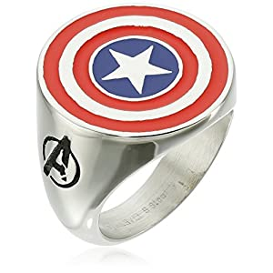 Marvel Comics Men's Stainless Steel Enamel Captain America Ring