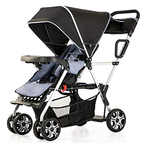 MQQ Double Baby Stroller Tandem Collapsible Stroller All Terrain Pushchair for Toddler Girls and Boys Stable Stroller Frame with Bag Organizer Super Shock Absorber Baby Stroller (Color : Black)